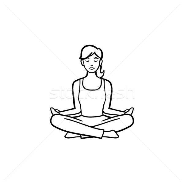 Yoga lotus pose hand drawn outline doodle icon. Stock photo © RAStudio