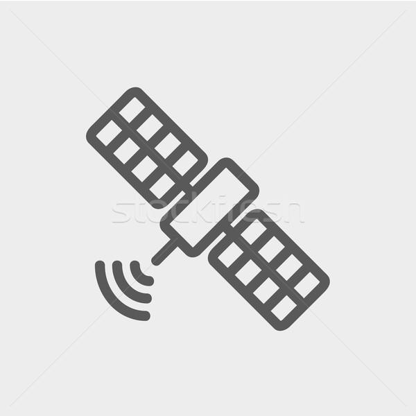 Satélite fino linha ícone teia móvel Foto stock © RAStudio