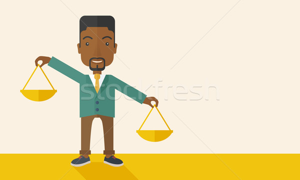 Black man holding a weighing scale. Stock photo © RAStudio