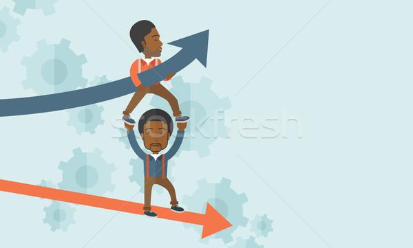 Iki siyah adam oklar yukarı aşağı Stok fotoğraf © RAStudio