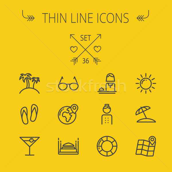 Travel thin line icon set Stock photo © RAStudio
