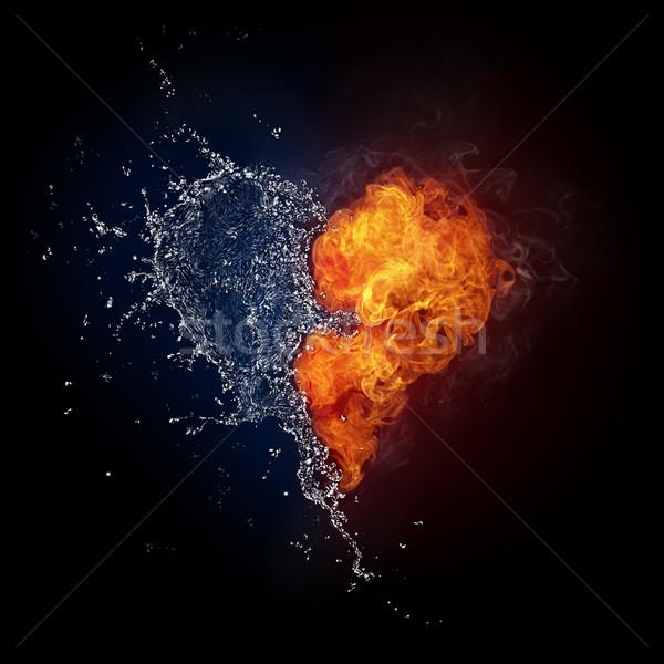 中心 火災 水 孤立した 黒 コンピューターグラフィックス ストックフォト © RAStudio