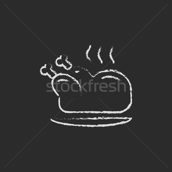 Baked whole chicken icon drawn in chalk. Stock photo © RAStudio