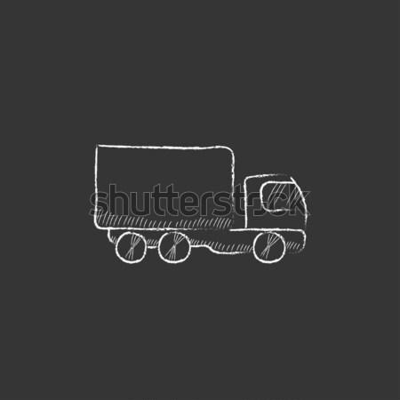 Delivery truck icon drawn in chalk. Stock photo © RAStudio