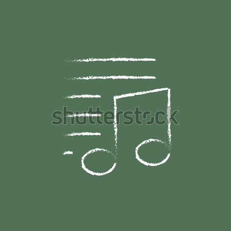 Download Musik Symbol gezeichnet Kreide Hand gezeichnet Stock foto © RAStudio