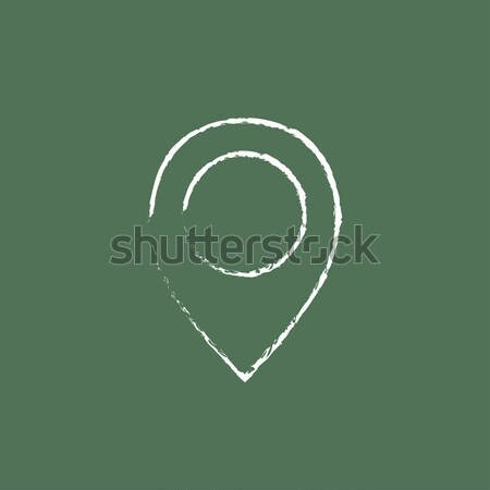 Map pointer icon drawn in chalk. Stock photo © RAStudio