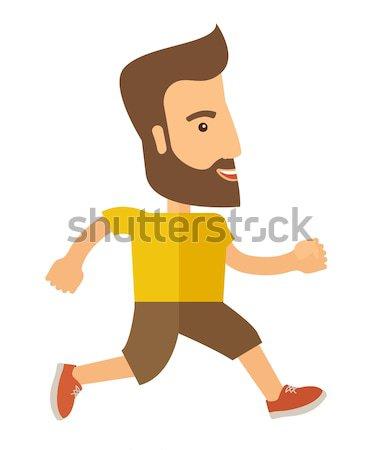 Uprawiający jogging człowiek jogging ulicy wektora projektu Zdjęcia stock © RAStudio