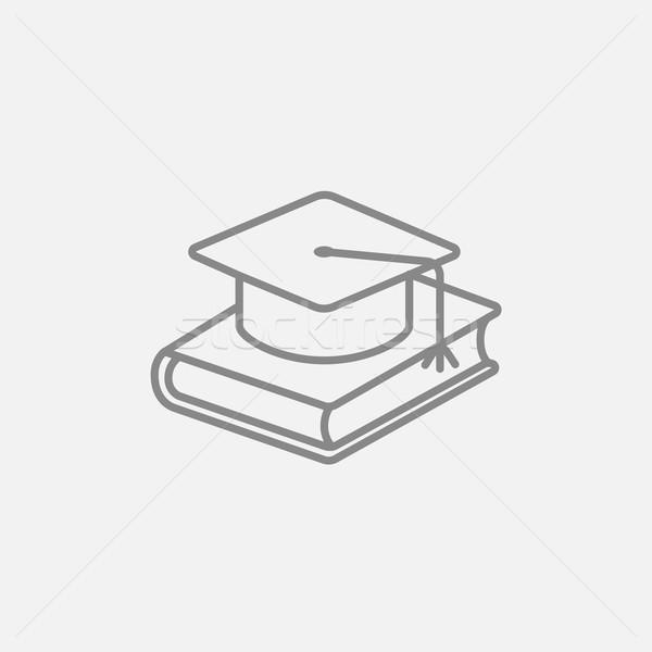 Foto stock: Graduação · boné · livro · linha · ícone