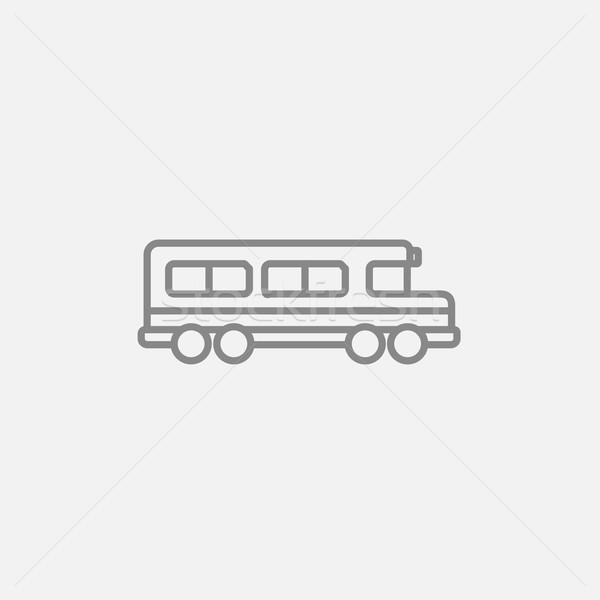 Iskolabusz vonal ikon háló mobil infografika Stock fotó © RAStudio