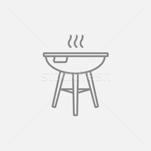 Stockfoto: Ketel · barbecue · lijn · icon · web · mobiele