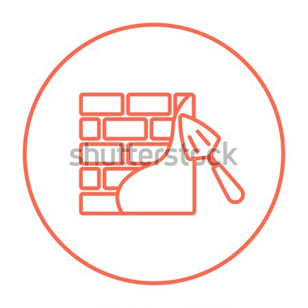 Spatula with brickwall line icon. Stock photo © RAStudio