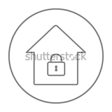 House with closed lock line icon. Stock photo © RAStudio