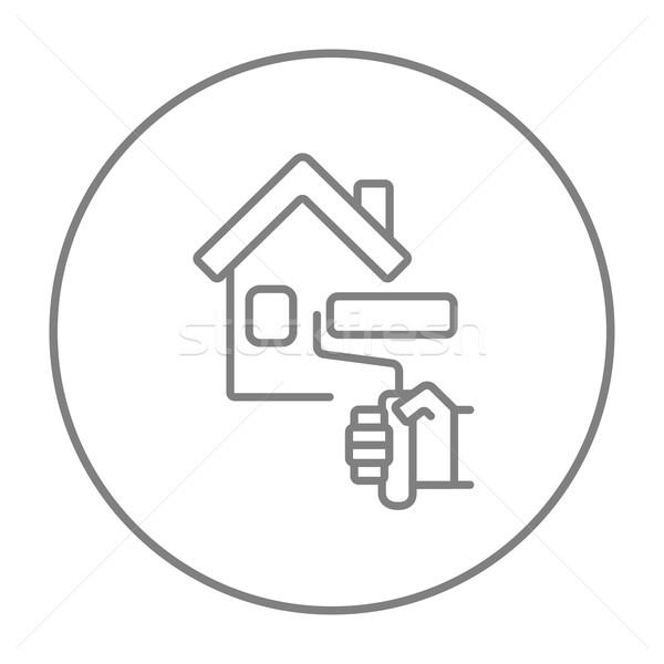 Сток-фото: дома · Живопись · линия · икона · веб · мобильных