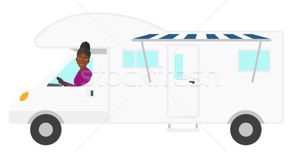 женщину вождения Motor домой вектора дизайна Сток-фото © RAStudio