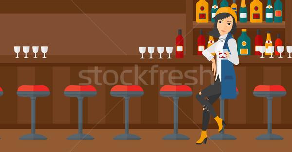 Woman sitting at bar. Stock photo © RAStudio