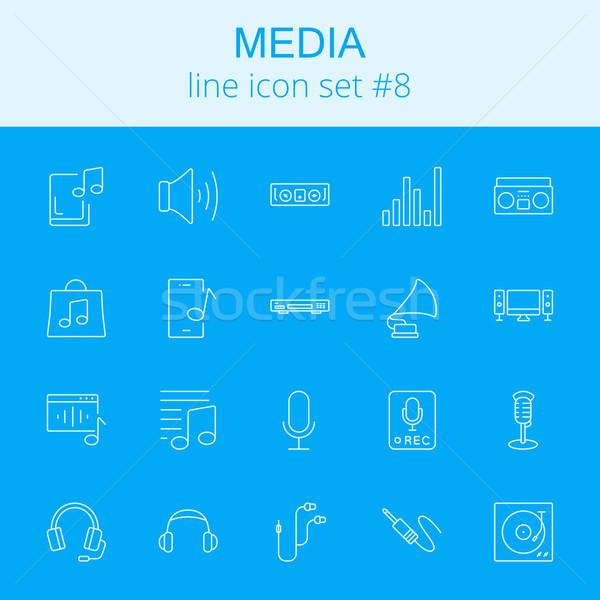 Stockfoto: Media · vector · lichtblauw · icon · geïsoleerd