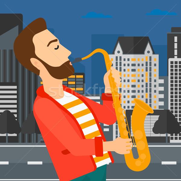 Zenész játszik szaxofon hipszter férfi szakáll Stock fotó © RAStudio