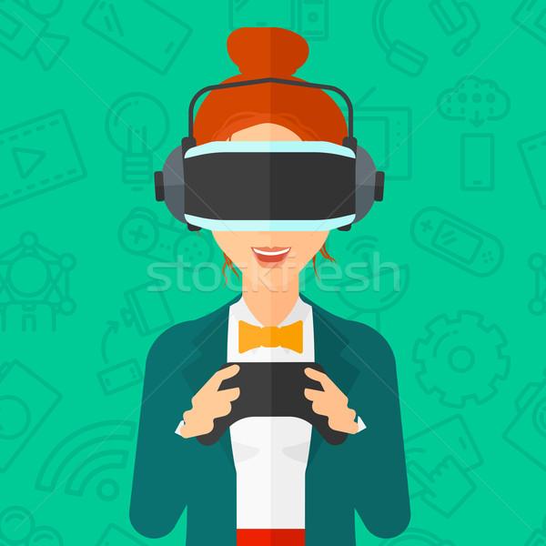 Stockfoto: Vrouw · virtueel · realiteit · hoofdtelefoon