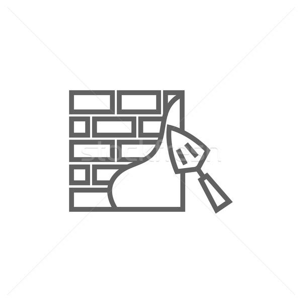 Spatel lijn icon hoeken web mobiele Stockfoto © RAStudio
