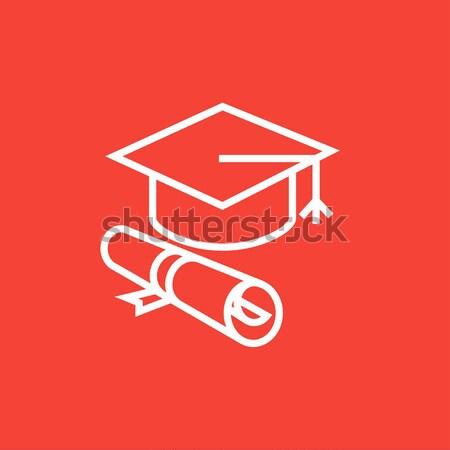 Afstuderen cap papier scroll lijn icon Stockfoto © RAStudio