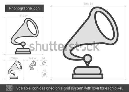 Gramofon hat ikon köşeler web hareketli Stok fotoğraf © RAStudio