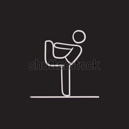 Homme yoga ligne icône pose de yoga Photo stock © RAStudio