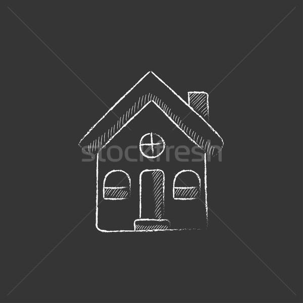 Detached house. Drawn in chalk icon. Stock photo © RAStudio