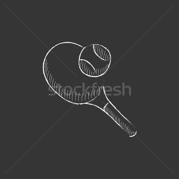 Tennis racket and ball. Drawn in chalk icon. Stock photo © RAStudio