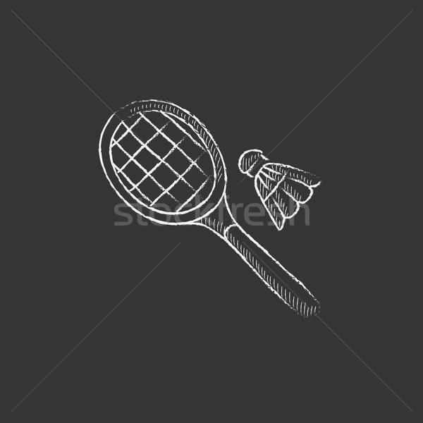 Badminton kredy ikona Zdjęcia stock © RAStudio