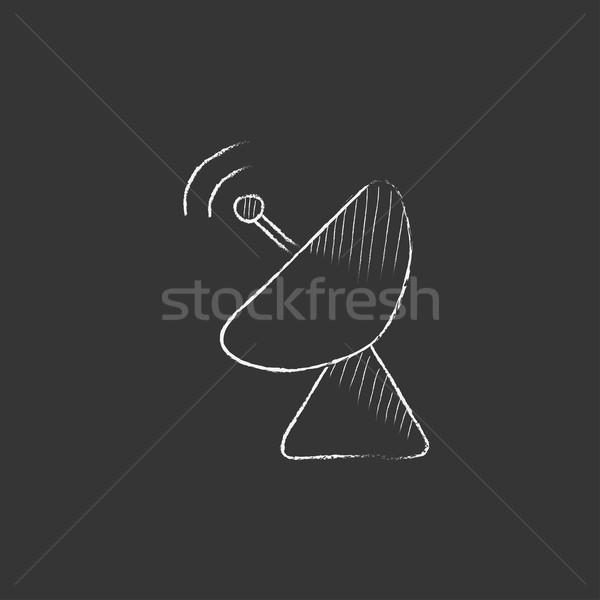 Radar satellite dish. Drawn in chalk icon. Stock photo © RAStudio