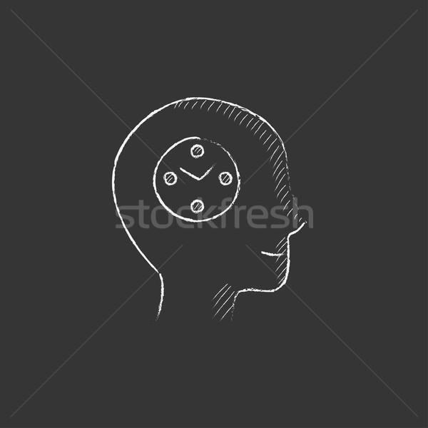 Emberi fej óra rajzolt kréta ikon Stock fotó © RAStudio