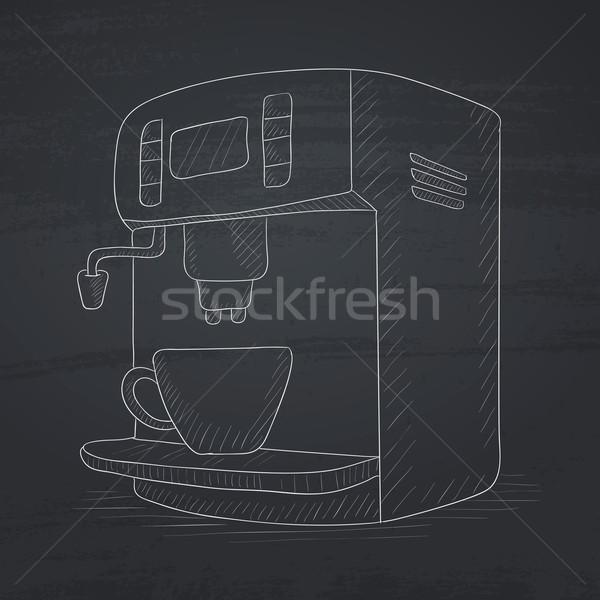 Koffiezetapparaat beker krijt Blackboard vector Stockfoto © RAStudio