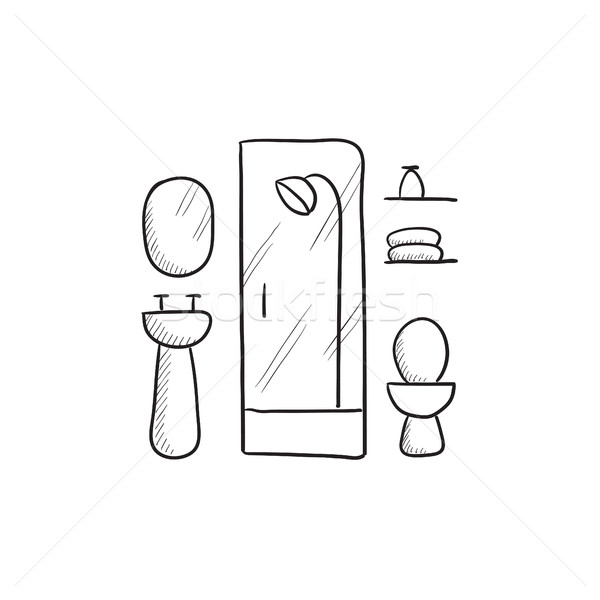 Bathroom sketch icon. Stock photo © RAStudio