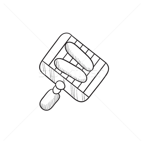 Grilled sausage on grate for barbecue sketch icon. Stock photo © RAStudio