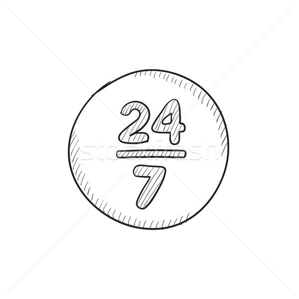 открытых 24 7 дней эскиз икона знак Сток-фото © RAStudio