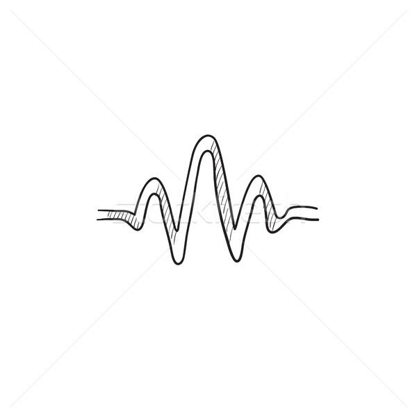 звуковая волна эскиз икона вектора изолированный рисованной Сток-фото © RAStudio