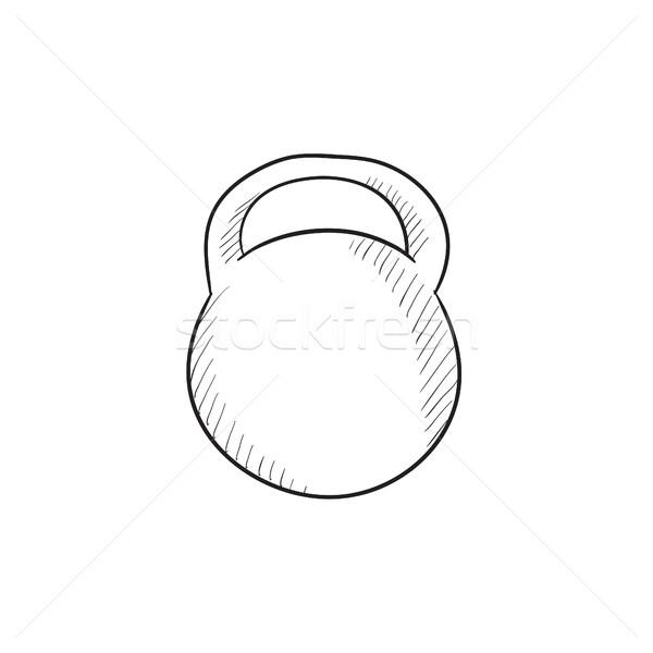 ストックフォト: ケトルベル · スケッチ · アイコン · ベクトル · 孤立した · 手描き