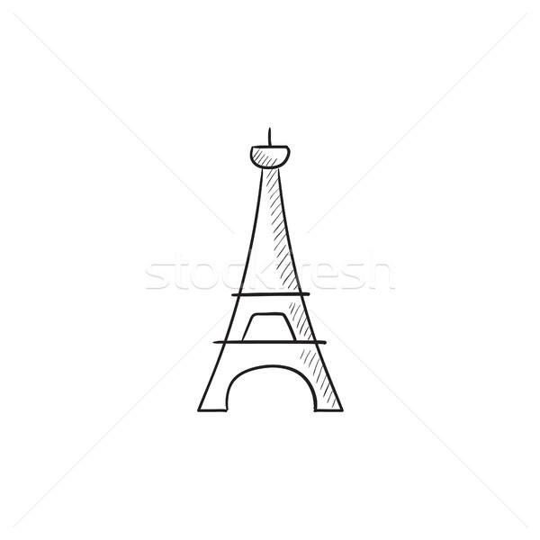 Torre Eiffel sketch icona vettore isolato Foto d'archivio © RAStudio