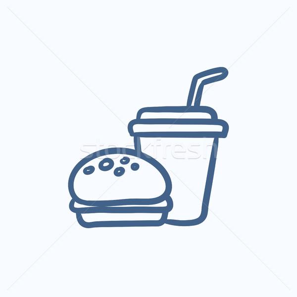 Fast food maaltijd schets icon vector geïsoleerd Stockfoto © RAStudio