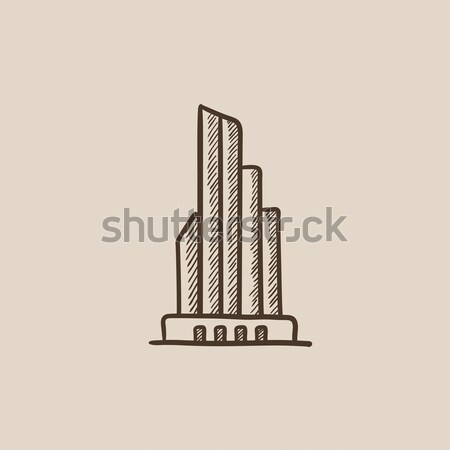 Skyscraper office building sketch icon. Stock photo © RAStudio