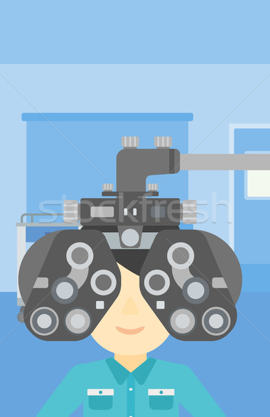 Patient during eye examination vector illustration Stock photo © RAStudio