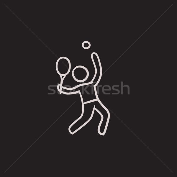 Homem jogar grande tênis esboço ícone Foto stock © RAStudio