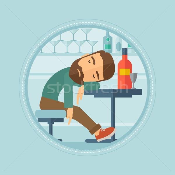 Bêbado homem adormecido bar caucasiano Foto stock © RAStudio