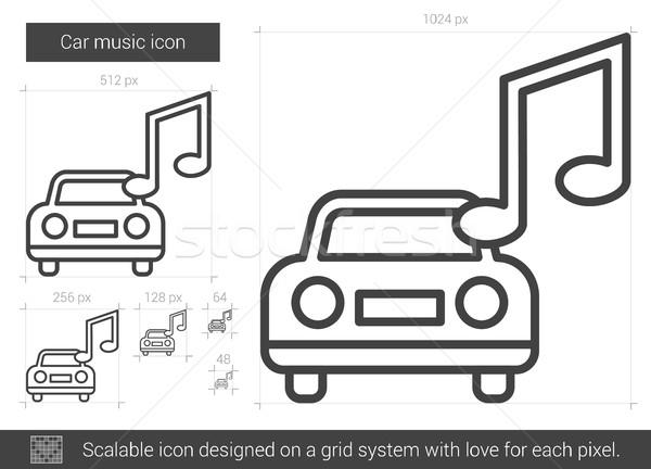 Autó zene vonal ikon vektor izolált Stock fotó © RAStudio
