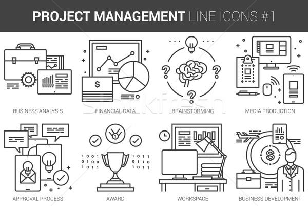 Project management line icon set. Stock photo © RAStudio