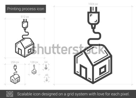 Stockfoto: Afdrukken · procede · lijn · icon · vector · geïsoleerd