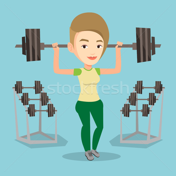 Woman lifting barbell vector illustration. Stock photo © RAStudio