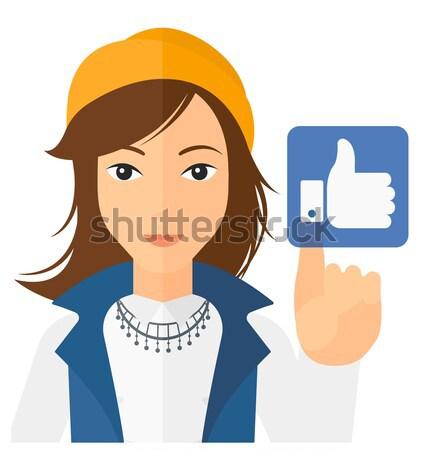 Woman pressing like button vector illustration. Stock photo © RAStudio