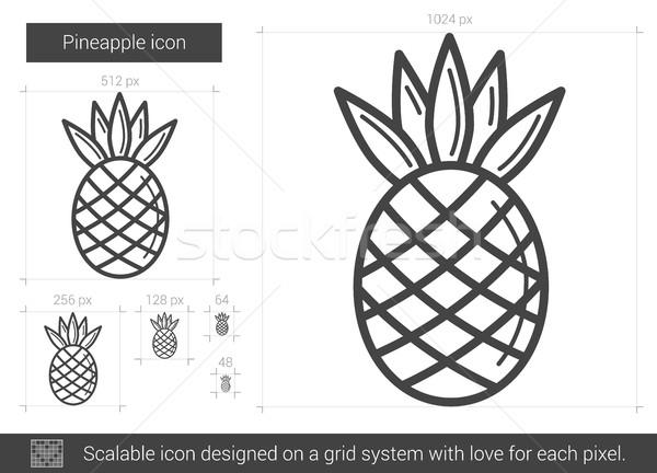 Ananas line ikona wektora odizolowany biały Zdjęcia stock © RAStudio