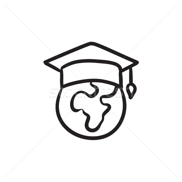 Globe in graduation cap sketch icon. Stock photo © RAStudio
